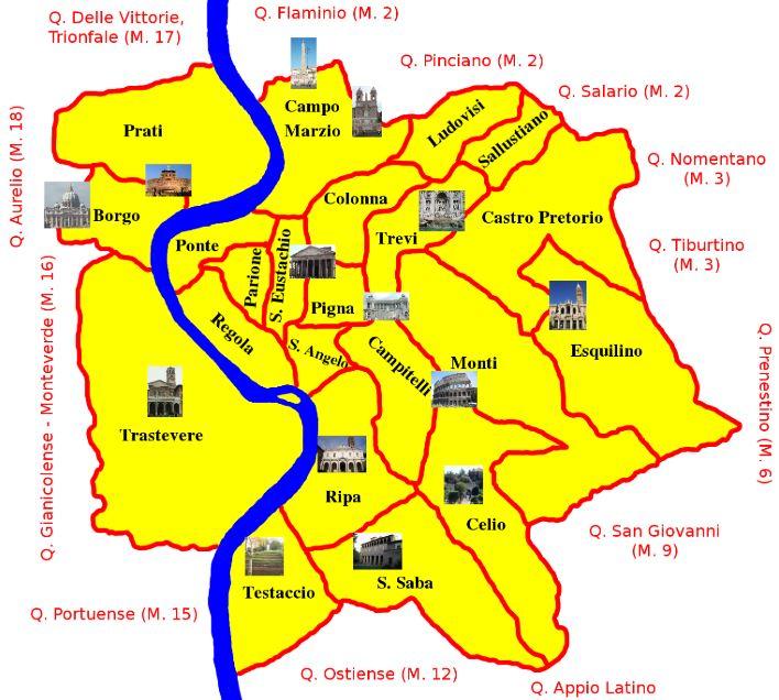 Карта римских районов