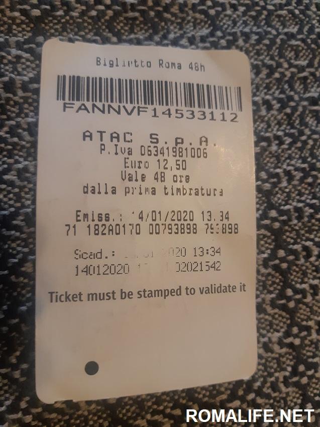 Билет в метро Рима на 2 дня