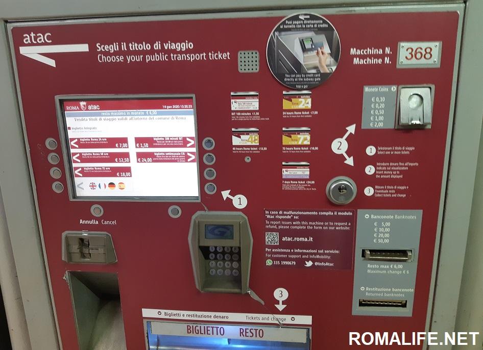 Проезд в метро Рим