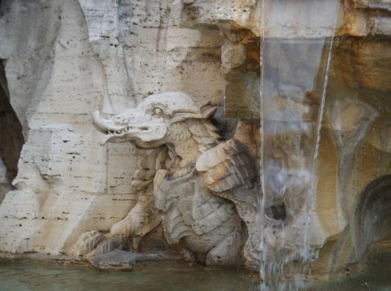 Крокодил на Фонтане Бернини